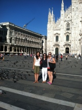 Us and the Pigeons in front of the Milan Duomo